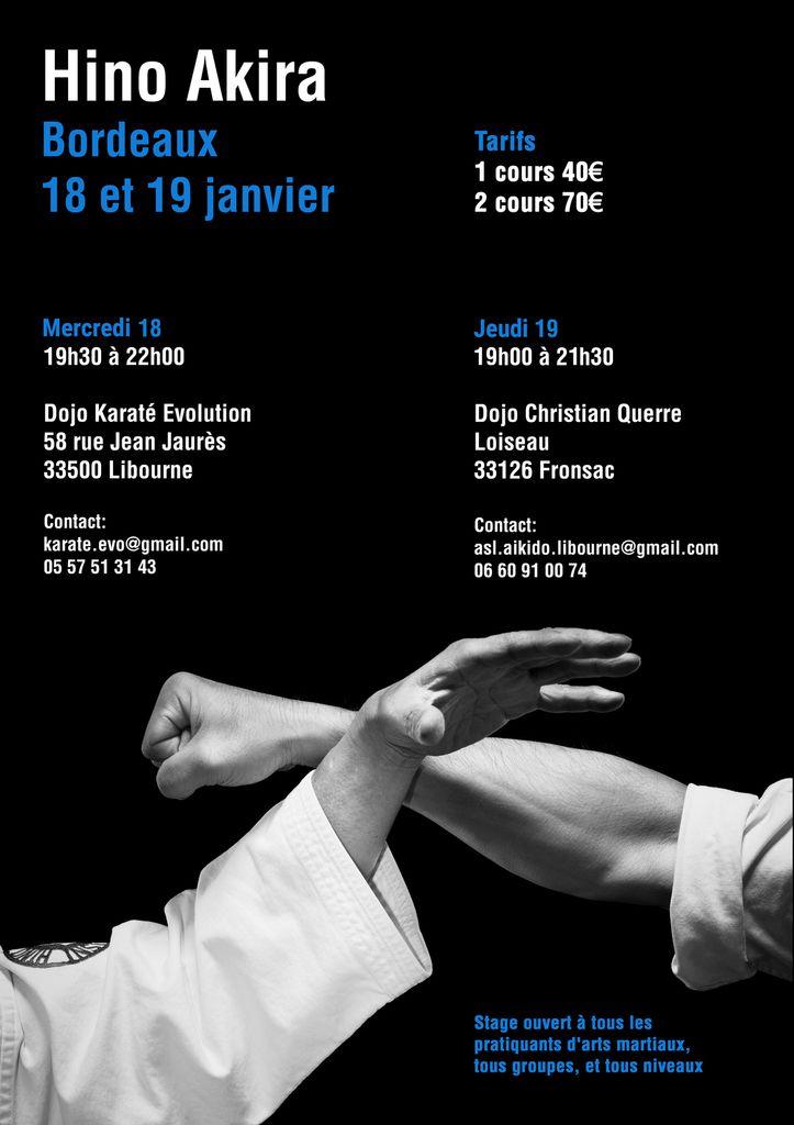 Hino Akira senseï à Bordeaux, 18 et 19 janvier