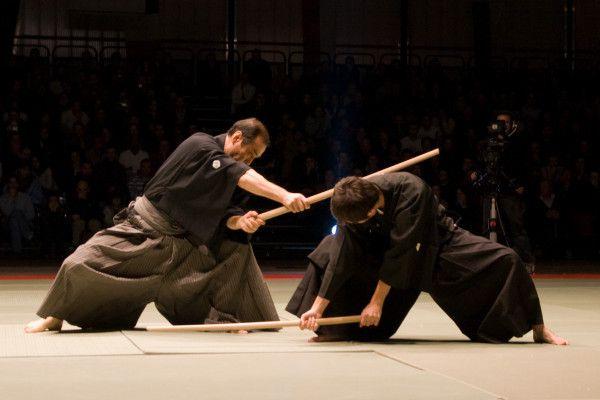 Kuroda Tetsuzan et son fils Yasumasa lors de la 1ère Nuit des Arts Martiaux Traditionnels (NAMT)