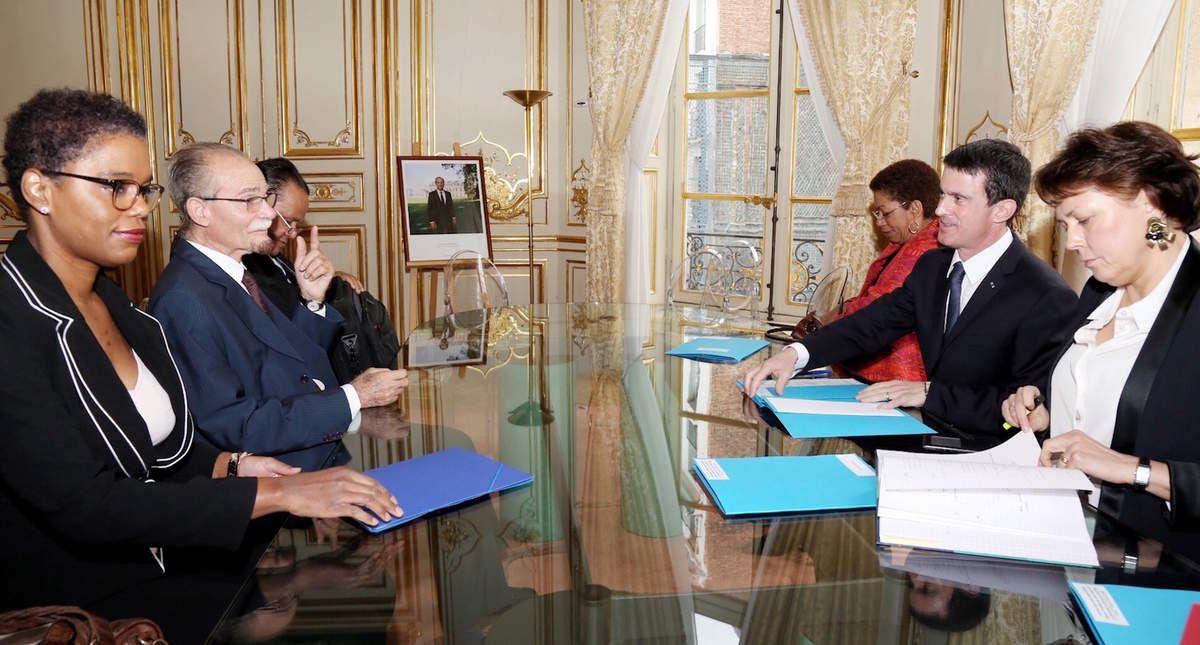 Alfred Marie-Jeanne avec Manuel Valls et GPL, lundi 1er février à Matignon