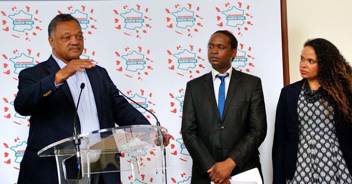 Jesse Jackson en compagnie de Loic Iscayes-Lami, président de Jeunesse Outre-mer et co-fondateur du forum Projeunesse depuis 3 ans, et Myriam Heinz , co-fondatrice du forum Projeunesse.