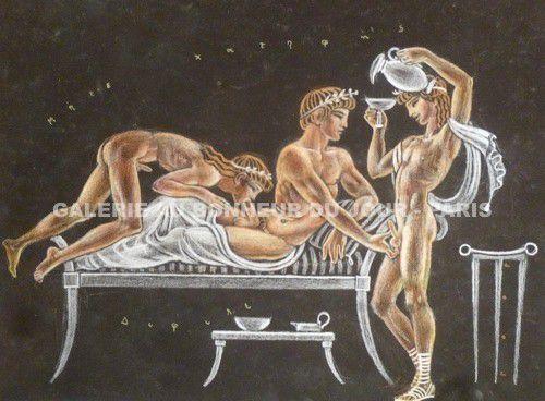 Gaston Goor (1902-1977) - Musa Paidike (La muse garçonnière) de Straton de Sardes - vers 1950 -  Pastel signé, avec rehauts de craie bleue et dorée - Tampon Bibliothèque Roger Peyrefitte au dos du dessin - 32 x 24 cm