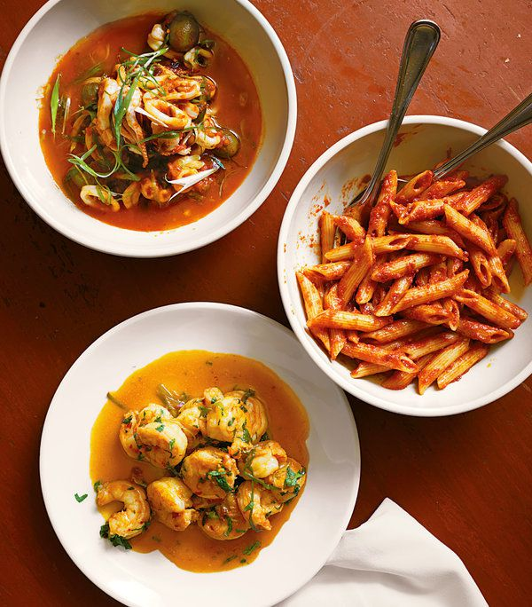 At 2 a.m., it's almost impossible to say no to spicy. Clockwise from top left: Spicy 3-Minute Calamari, Penne All'Arrabbiata and Spicy Shrimp Sauté.