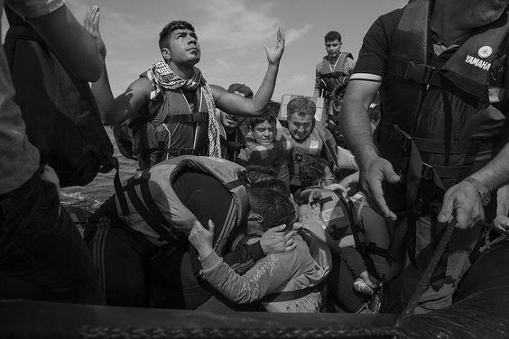 Réfugiés arrivant sur l'île de Lesbos en Grèce