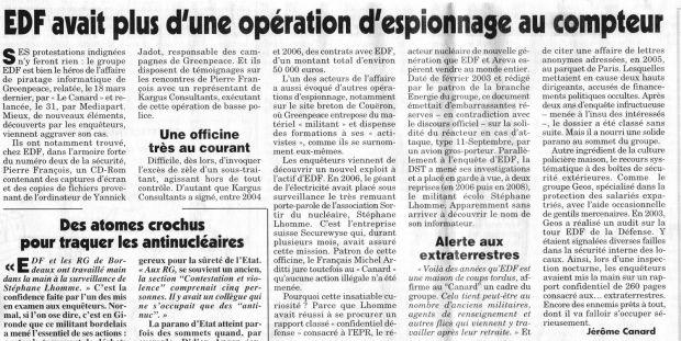 Article du Canard enchaîné du mercredi 8 avril 2009 ...