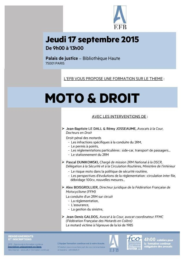 moto droit conf rence du 17 septembre 2015 paris avocat permis de conduire le dall. Black Bedroom Furniture Sets. Home Design Ideas