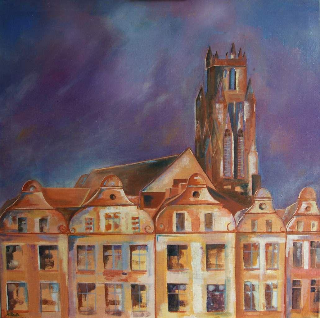 L'église saint Jean Baptiste, la nuit, Arras. Huile 80x80