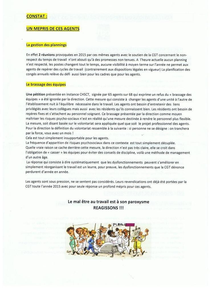 Solidarité avec les personnels de l'EHPAD les 7 sources