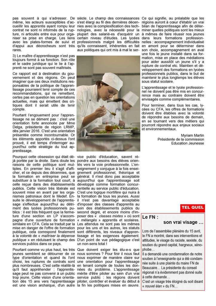 La lettre des élu(e)s communistes et républicains de la région Midi-Pyrénées Languedoc-Roussillon..
