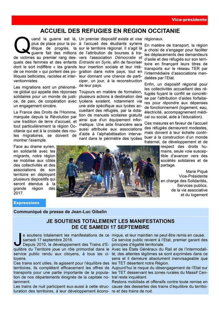 La lettre des élu(e)s communistes et républicains de la région occitanie..  Septembre  2016