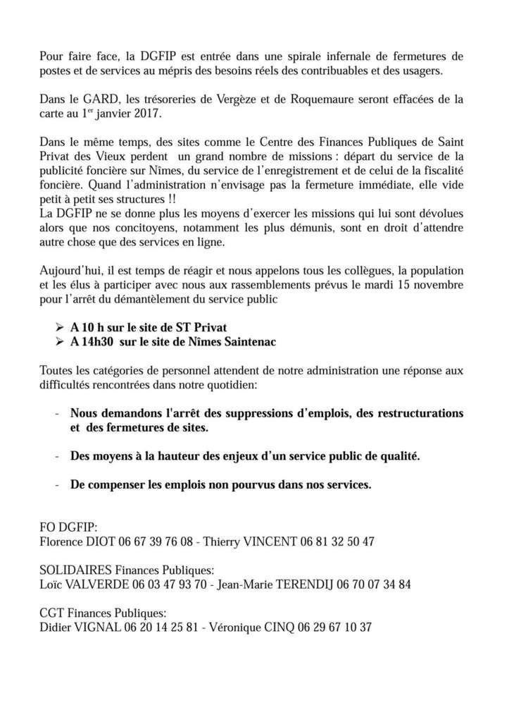 Centre des impôts : fermeture des trésoreries de Roquemaure et de Vergèze.