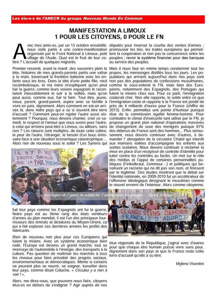 La lettre des élu(e)s communistes et républicains de la région occitanie..  Octobre  2016