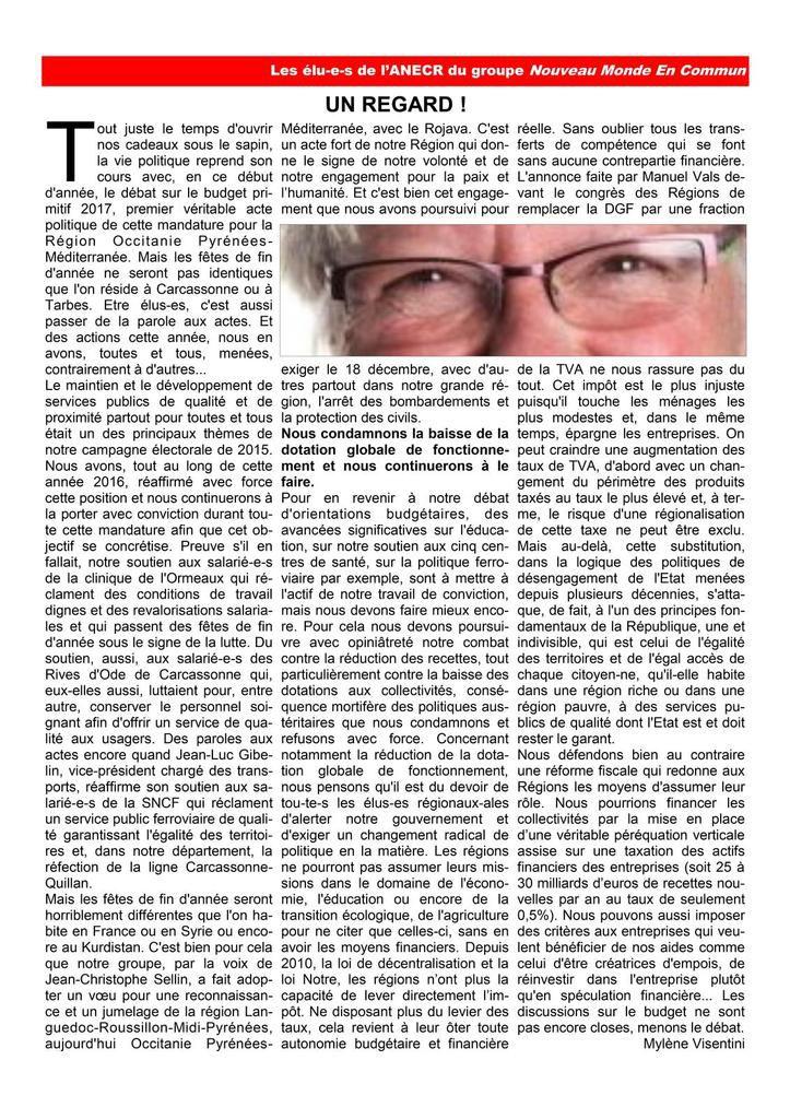 La lettre des élu(e)s communistes et républicains de la région occitanie..Décembre 2016