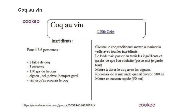 coq au vin 2 fiche recettes cookeo recettes faciles. Black Bedroom Furniture Sets. Home Design Ideas