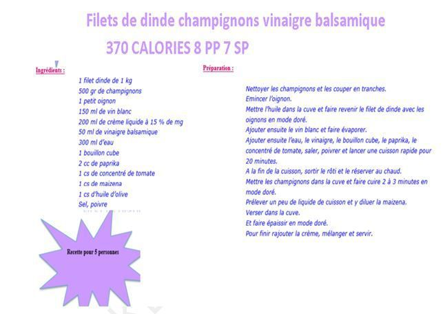 Filets dinde vinaigre weight watchers cookeo