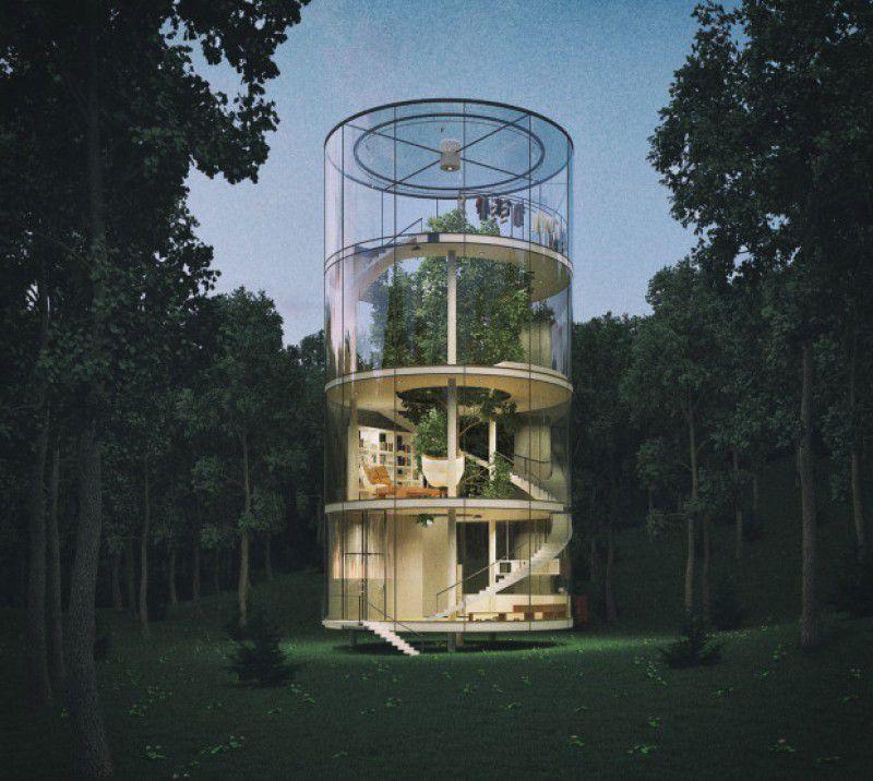 L'architecte Aibek Almasov pense que la planète serait certainement plus belle si l'architecture était raisonnée en fonction de la nature et non pas en fonction de l'humain. Et l'on voie le résultat avec cette somptueuse  maison, toute de verre, enroulée, enlaçant un majestueux sapin, ou le capitaine fantastique aurait pu accueillir toute sa tribu !