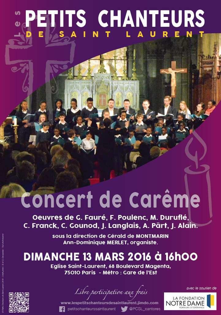 Dimanche 13 mars, 16h00, Concert de Carême