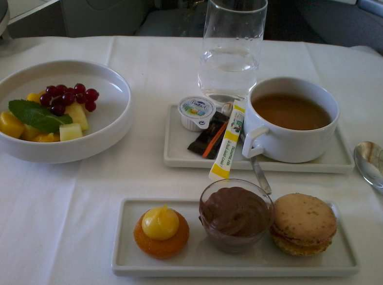 nougat macaron, caramel-chocolate mousse parfait, lemon-almond pastry, english tea