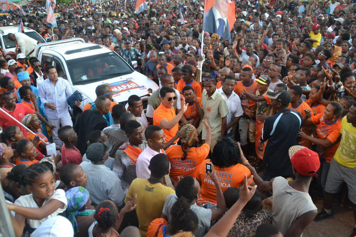 Andry Rajoelina à Diego, le 28 juillet 2015. Plus populaire que jamais
