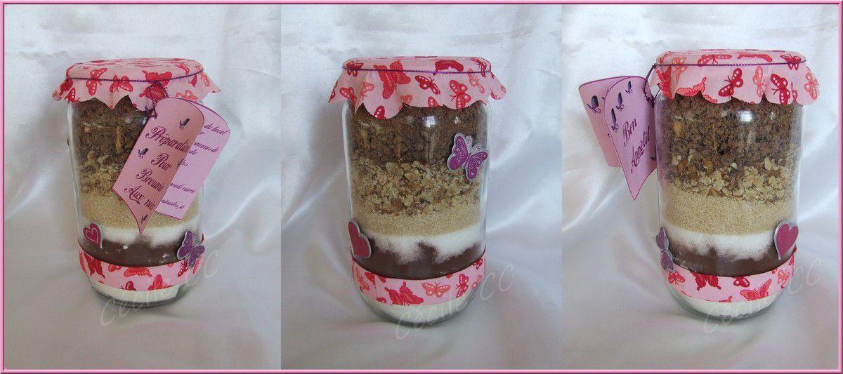 Cadeau homemade: préparation pour brownie chocolat noix...