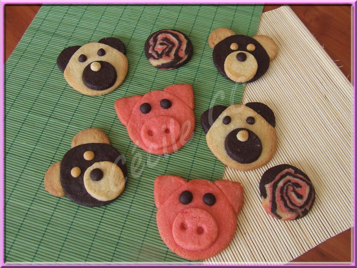 Biscuits petits cochons et oursons.