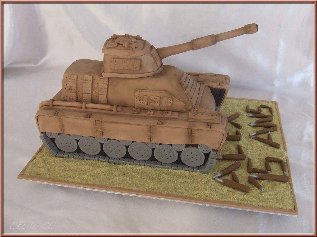 Gâteau 3D en forme de tank et recette du gâteau chocolat amande...