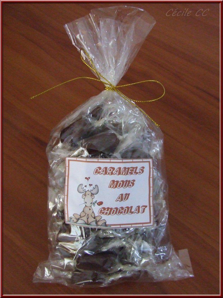 Cadeau homemade : sachet de caramels mous au chocolat...