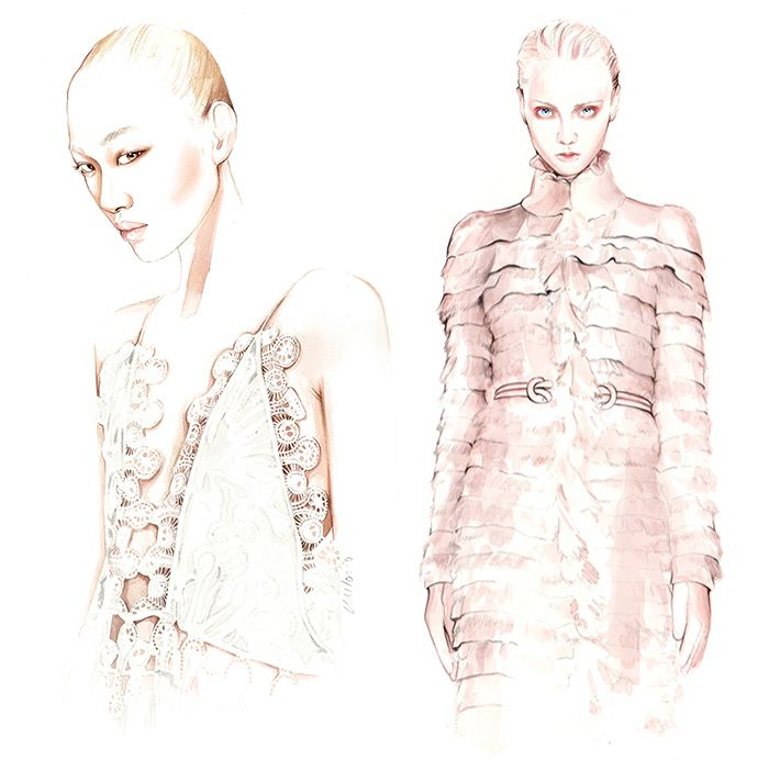 FASHION ILLUSTRATIONS (5) BY ANTONIO SOARES / HANDMADE DRAWINGS &amp&#x3B; WATERCOLOR