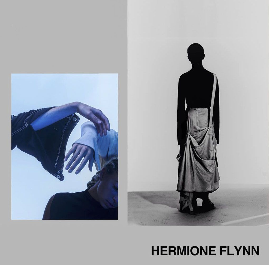 Hermione Flynn is a conceptual artist/designer from Berlin. She can be (un)defined as fashion designer, performance artist, installation artist, film maker and image maker. She designed C+B collection to challenge this stigma, resulting in silhouettes, which, from afar, look like trousers but on closer inspection are revealed as a skirt or dress.