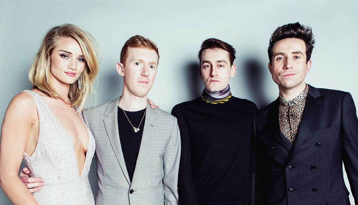 Rosie Huntington Whitelay & Nick Grimshaw with Jordan Askill & Thomas Tait (winners of the emerging talent awards 2015)