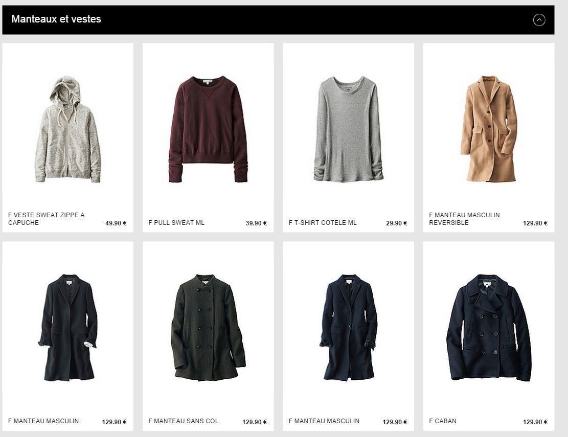 Exemples de prix  sur les manteaux et vestes