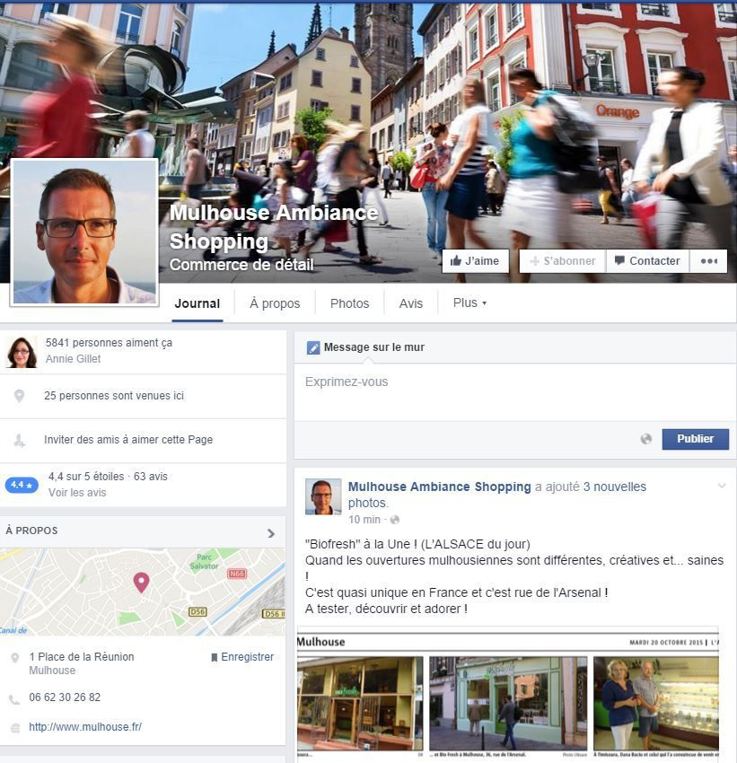 La page facebook Ambiance Shopping