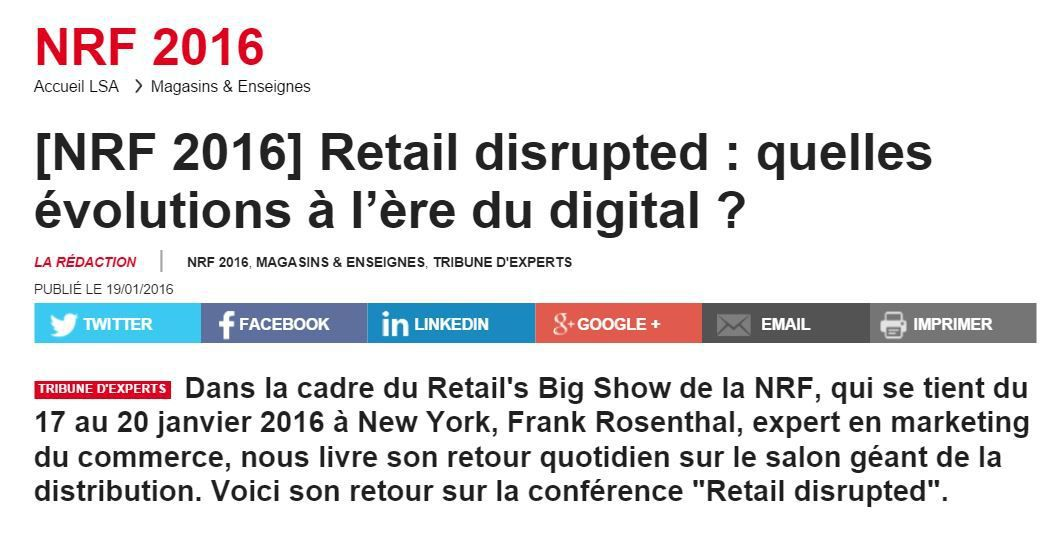 Spécial NRF 2016 : Retail Disrupted