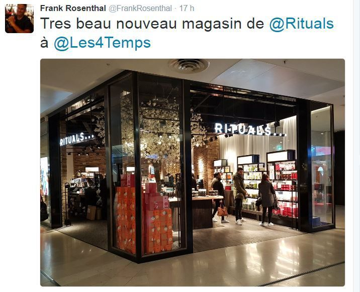 Retail Tweets (13) : Rituals et son très beau nouveau magasin aux 4 Temps