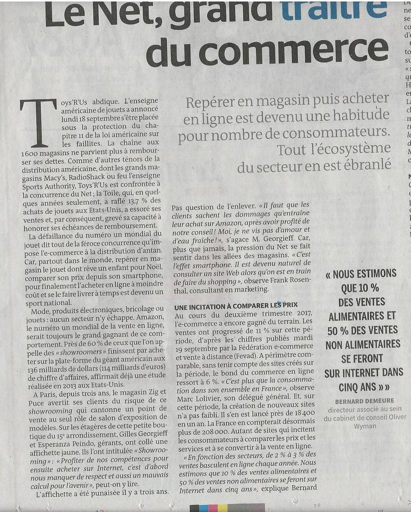 Dans les médias (6) : Le Monde : Internet contraint les commerçants à innover