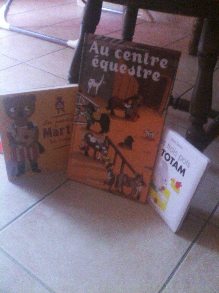 et bien sur, LES LIVRES. 3 petites merveilles. TOTAM et les 3 pots (message pour la chouchounette), MARTIN L'OURS COQUIN (mon coup de coeur de la box, un super livre avec des petits jeux) et AU CENTRE EQUESTRE, un livre imagier à volets, les 3 livres viennent de chez TOURBILLON