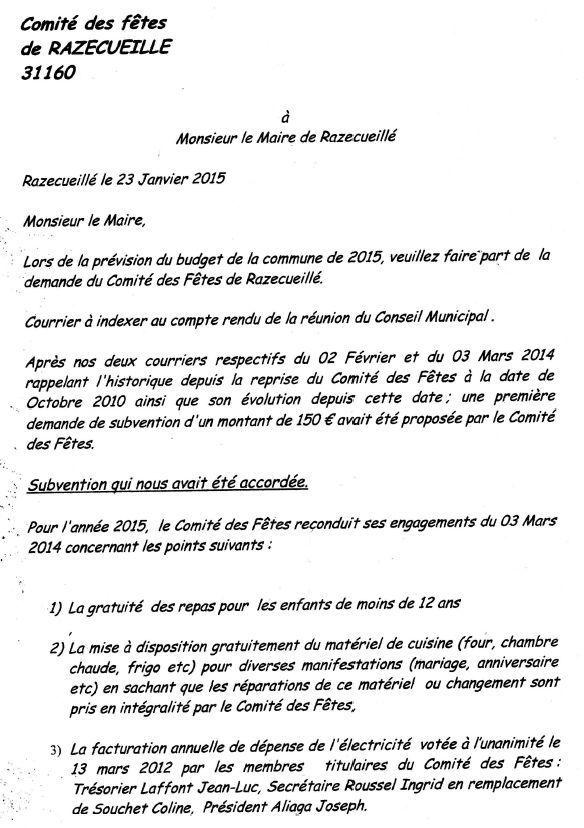 lettre demande de subvention mairie