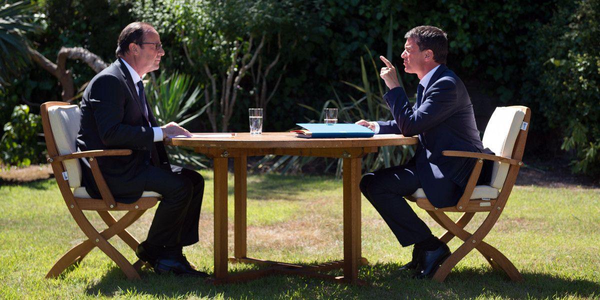 F. Hollande (Président de la République) et M. Valls (Premier Ministre) lors d'un entretien (illustration)
