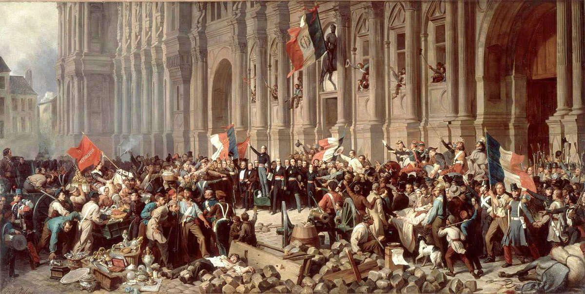 Félix Philippoteaux, Épisode de la Révolution de 1848 : Lamartine repoussant le drapeau rouge à l'Hôtel de Ville, le 25 février 1848, v. 1848. Huile sur toile, 63 × 27,5 cm. Musée Carnavalet, Paris.
