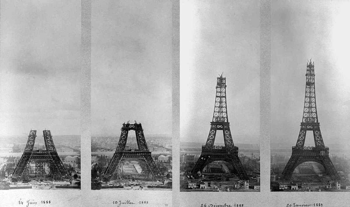 La Tour Eiffel en construction de 1887 à 1889 (illustration)