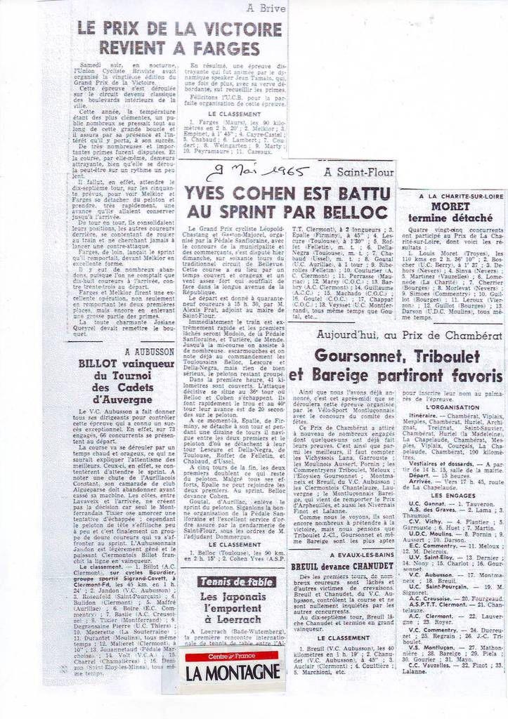 Il y a 50 ans ... (8 au 10 mai 1965)
