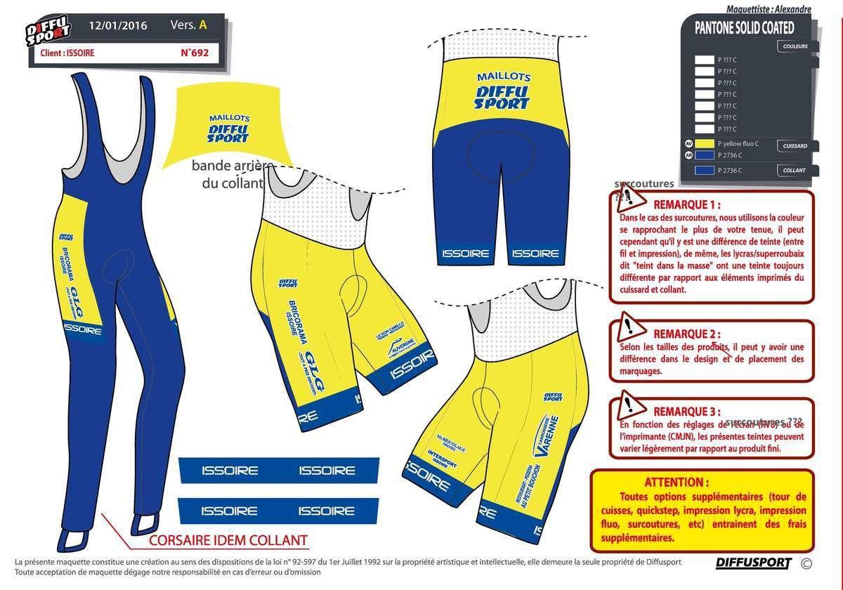 Le maillot d'Issoire Cyclisme Compétition