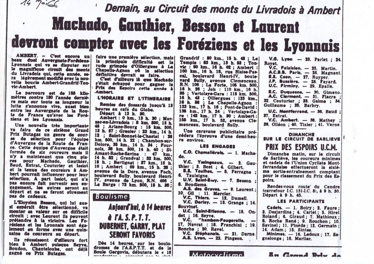 Il y a 50 ans ... (15 mai 1966)