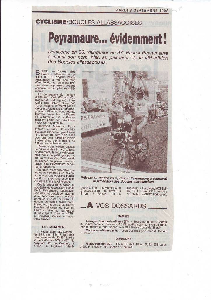 Journal La Montagne du 8 septembre 1998