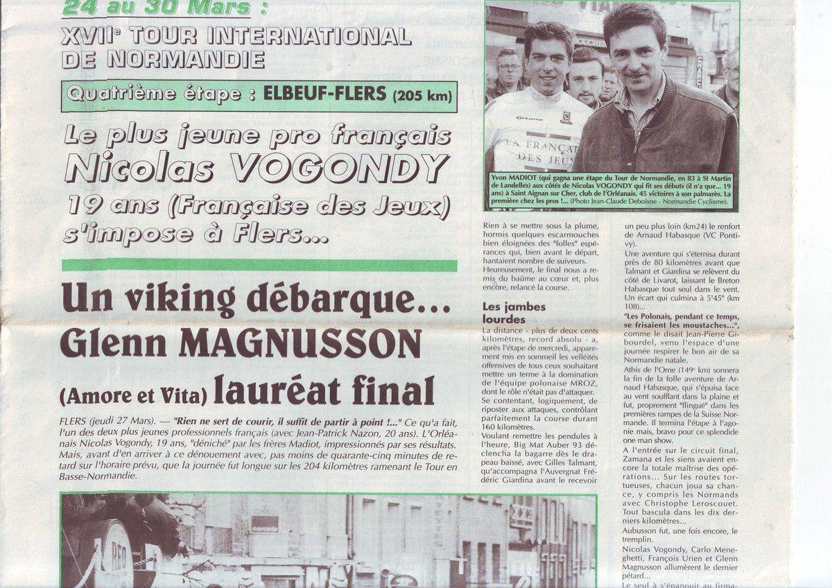 Il y a 20 ans ... Première victoire chez les pros pour Vogondy