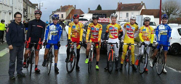 De gauche à droite : Y. Arnaud, P. Bonnet, A. Meyleu, T. Morin, F. Beyssac, V. Tourde, A. Prunet, E. Jaussi et Q. Meyleu