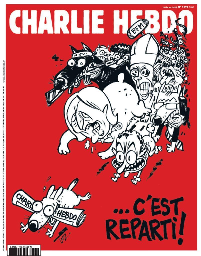 La Une du numéro 1179 de Charlie Hebdo, avec un dessin de Luz, Mercredi 25 Février 2015.