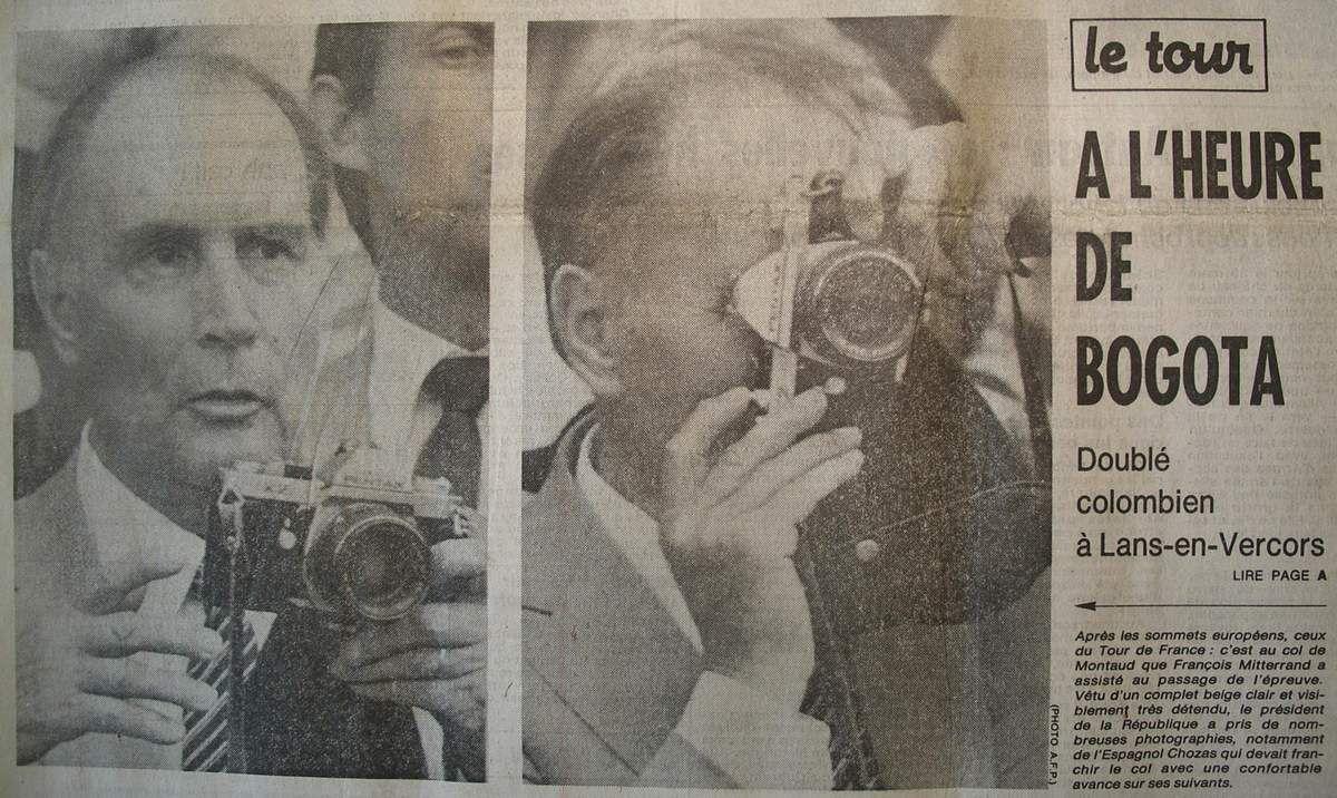François Mitterrand avec un Pentax, à la Une de la Nouvelle République, Jeudi 11 Juillet 1985.