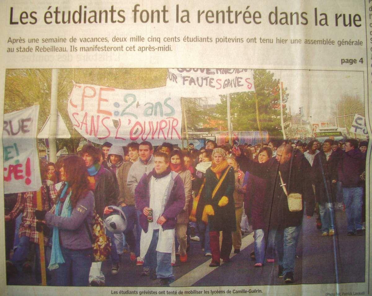 Lundi 27 Février 2006 : le blocus fait sa rentrée à Poitiers