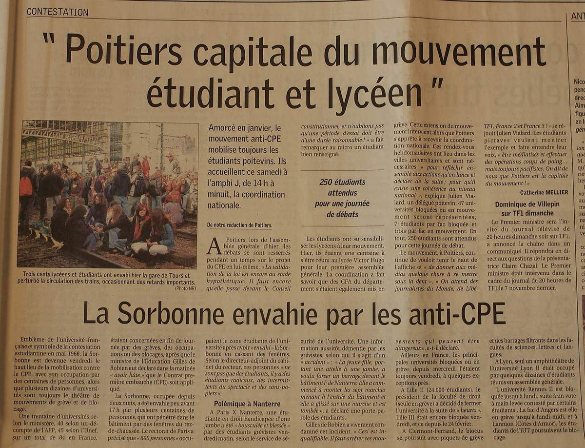 Vendredi 10 Mars 2006 : poursuite du blocus avant la coordination nationale de Poitiers
