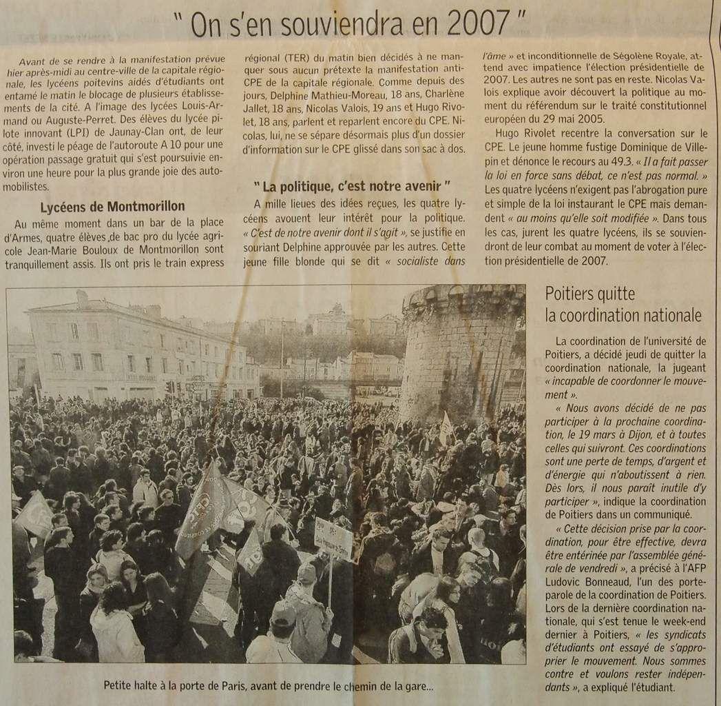 Jeudi 16 Mars 2006 : la belle action du jour, une manifestation réussie !